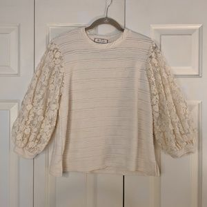 Anthropologie Cream sweater flowers plus size 1xl